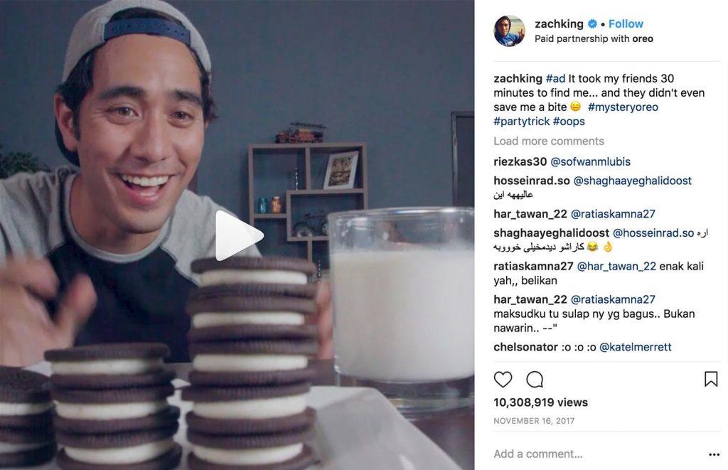 قام Zach King حملة تسويقية ترفيهية فعالة حصلت على عدد مشاهدات عالي عبر الانستجرام