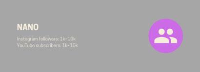 مواصفات المؤثرين تحت تصنيف نانو وذلك حسب عدد متابعينهم على السوشيال ميديا