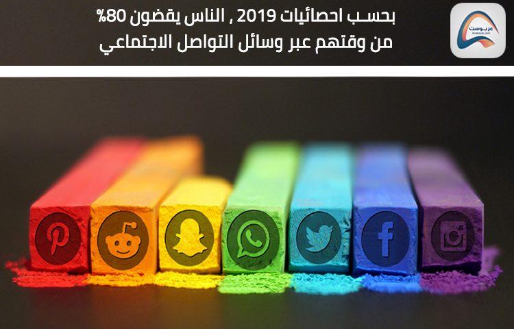 كم من الوقت يقضي المستخدمين عبر وسائل التواصل الاجتماعي في عام 2019